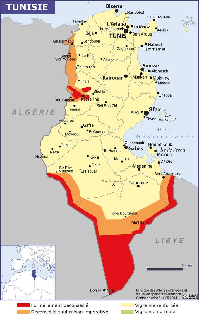 Carte de la Tunisie