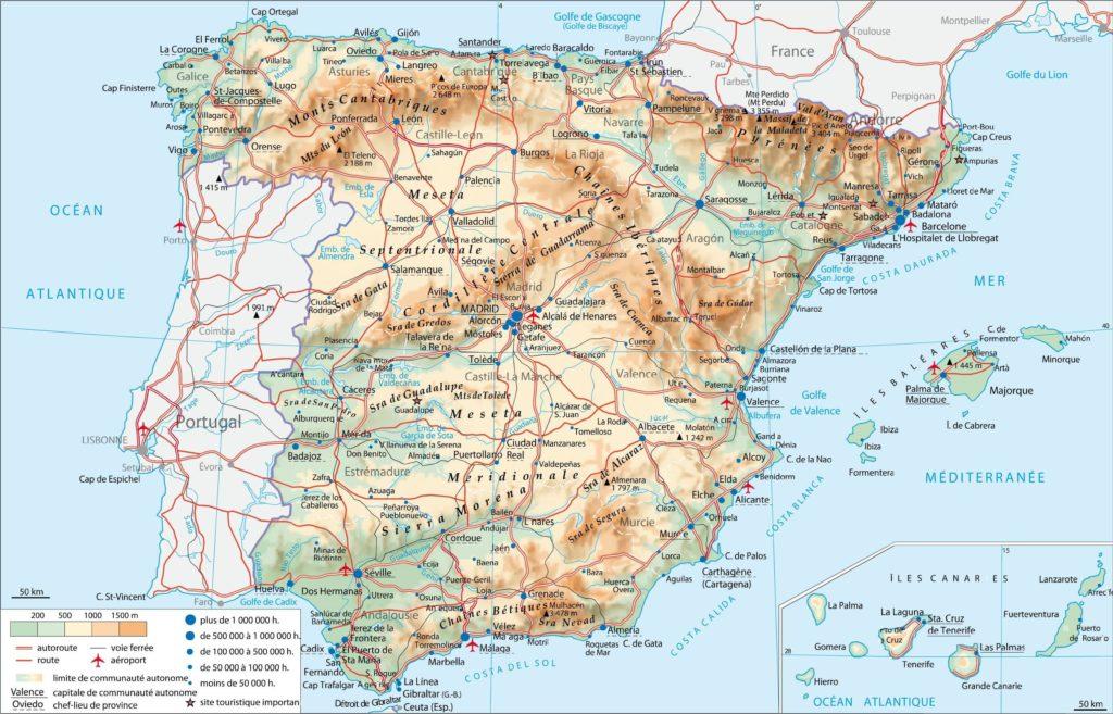 Espagne - Carte HD