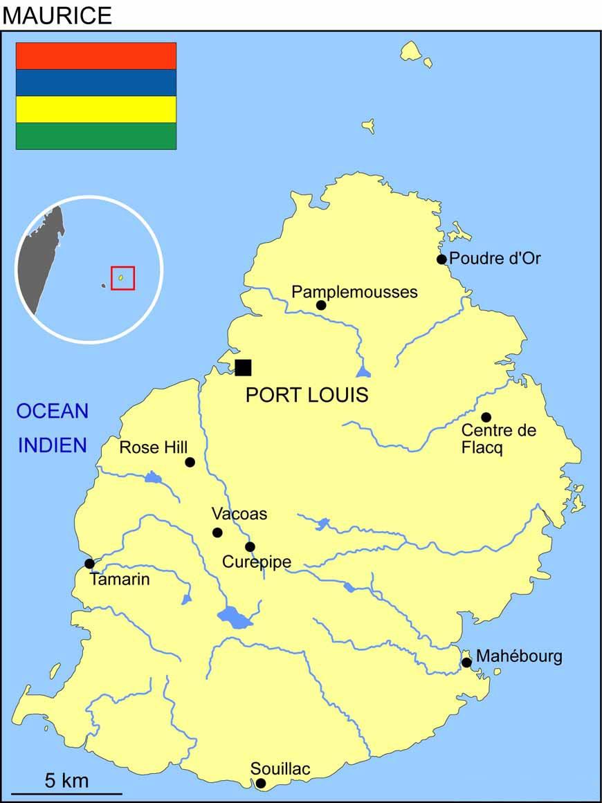 Port Louis - Carte île Maurice