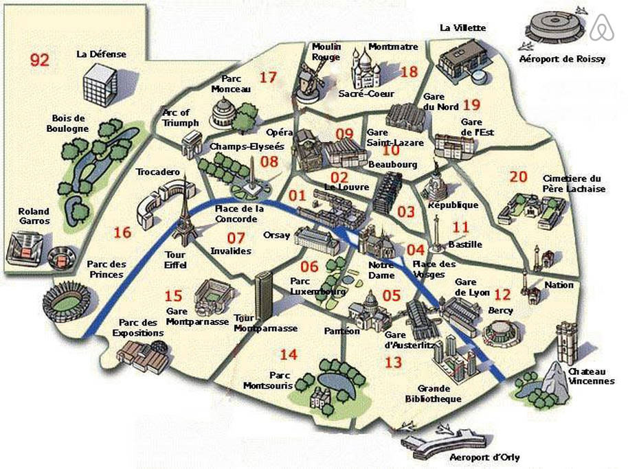 Plan de Paris touristique