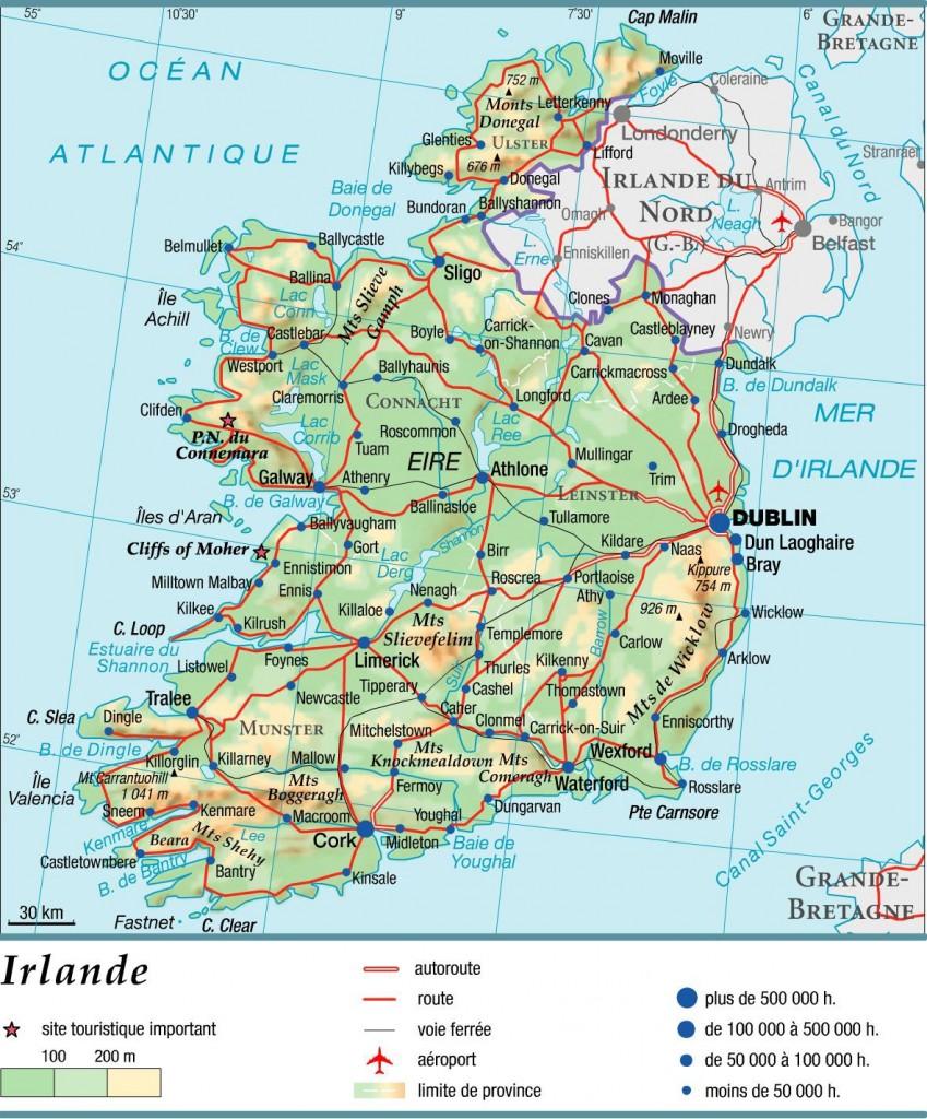 Carte Irlande - Villes et routes