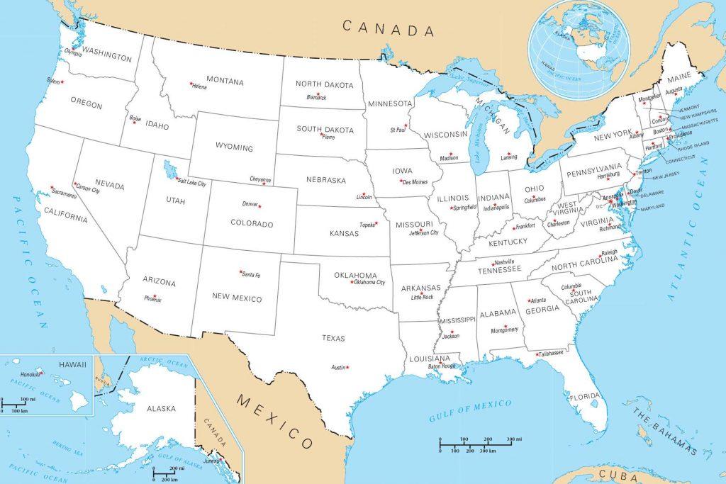 Carte des villes et capitales des états unis