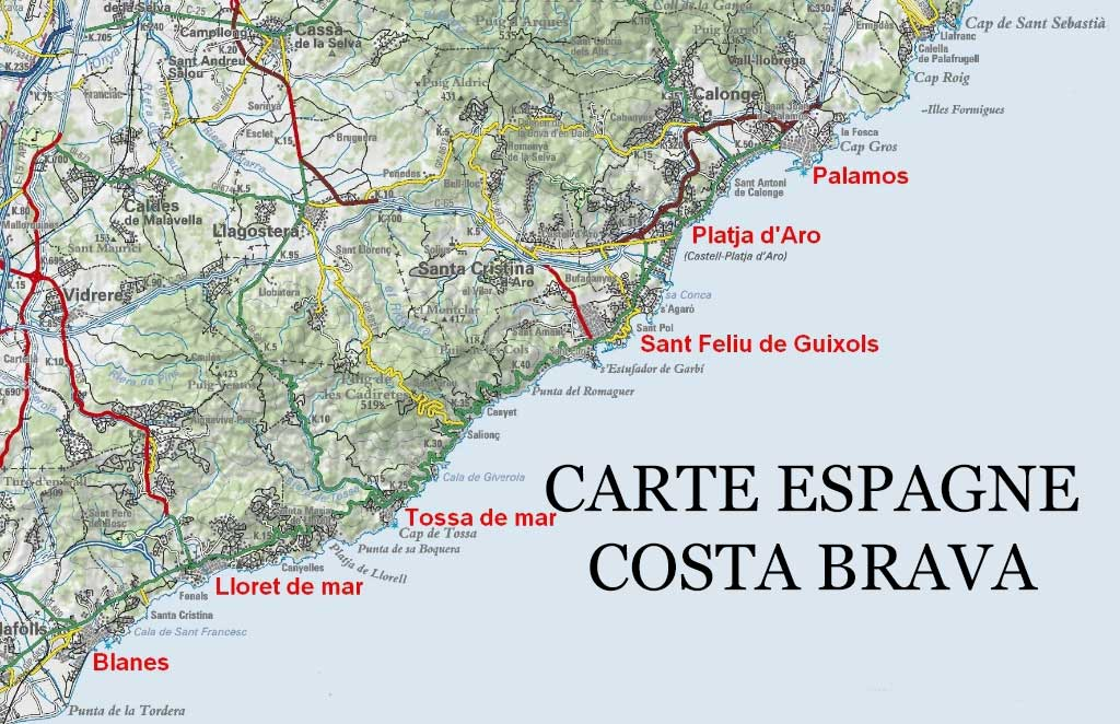 espagne-costa-carte-detaillee - Photo