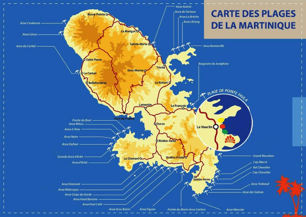 Plages Martinique - Carte