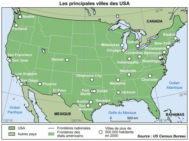 Carte USA - Villes principales