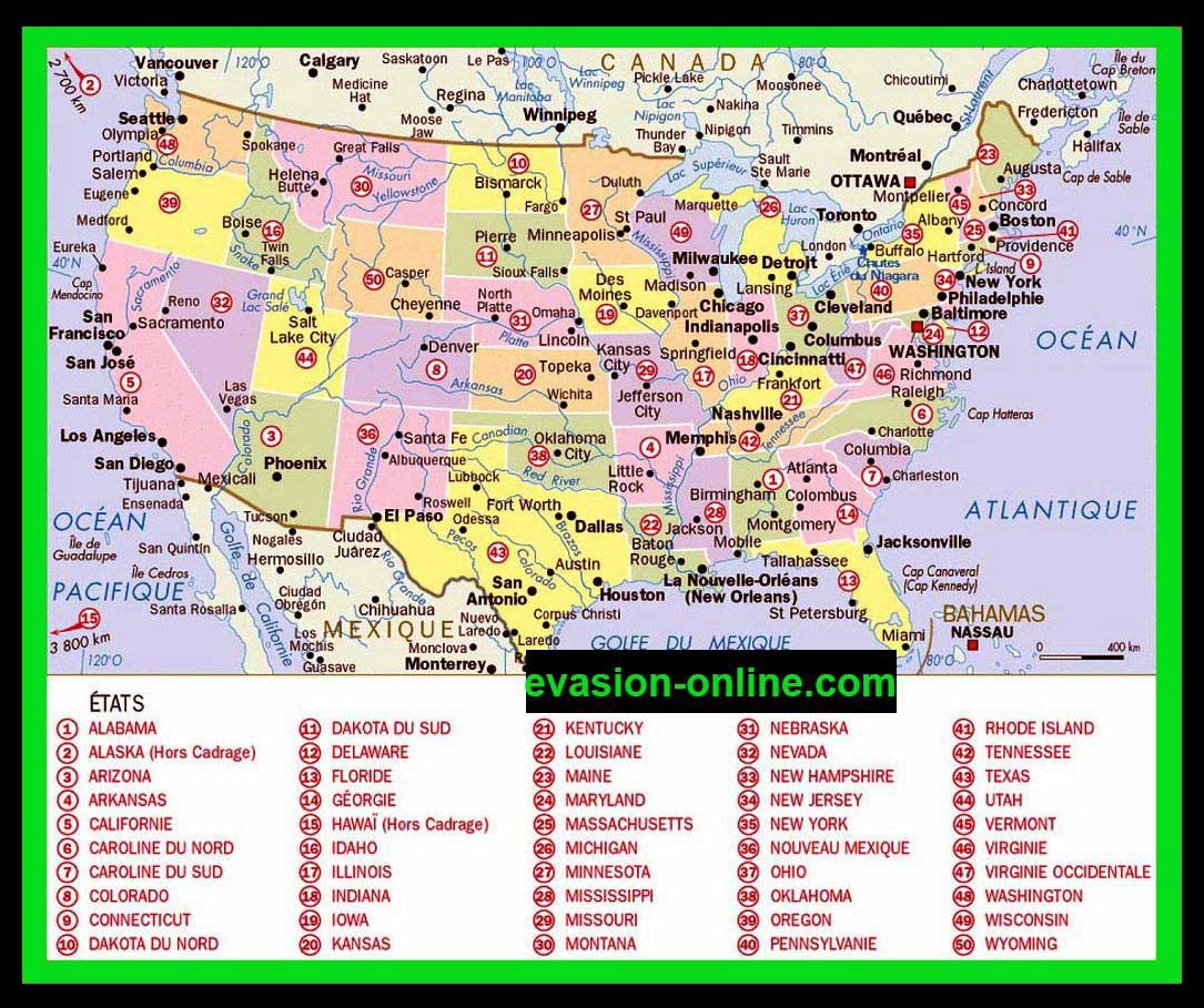 Carte Villes Etats Unis