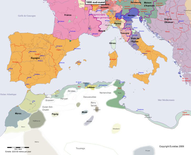carte europe du sud ouest