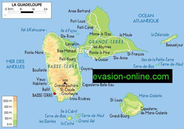 carte île de la guadeloupe avec villes