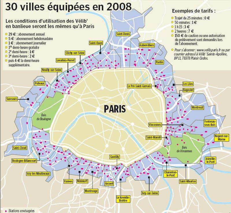 Carte de la banlieu parisienn IDF