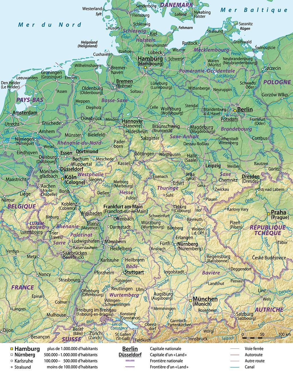 Carte Allemagne Détaillée