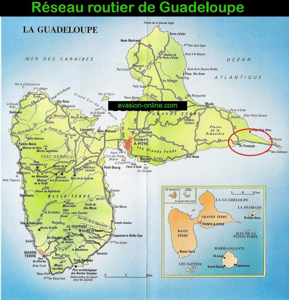 Carte des routes de Guadeloupe