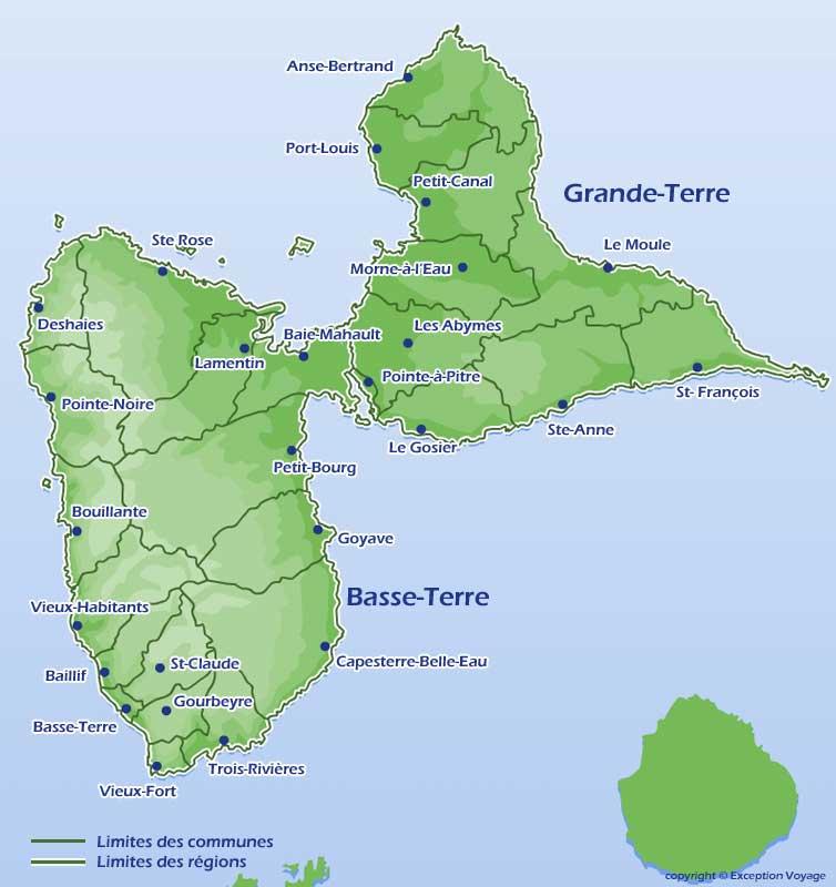 Carte de Guadeloupe - Vacances Antilles