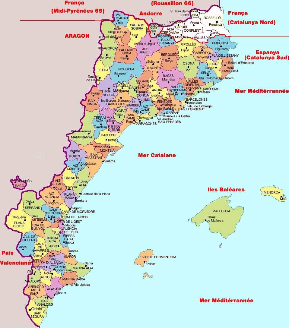 Carte de la catalogne avec capitale Barcelona