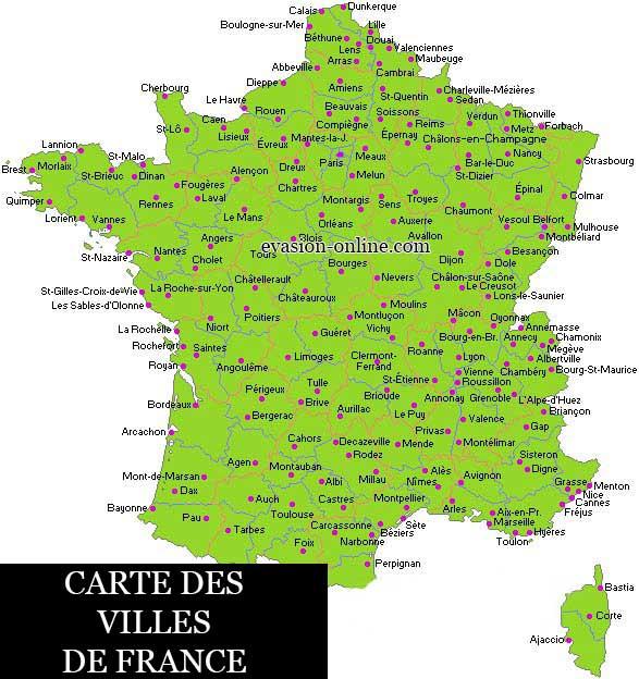 Carte détaillée des villes de France