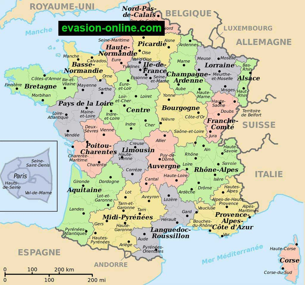 France - Carte des villes et pays limitrophes