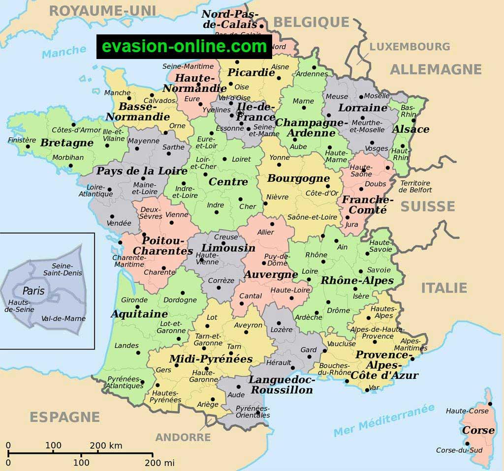 carte de france detaillee avec departement