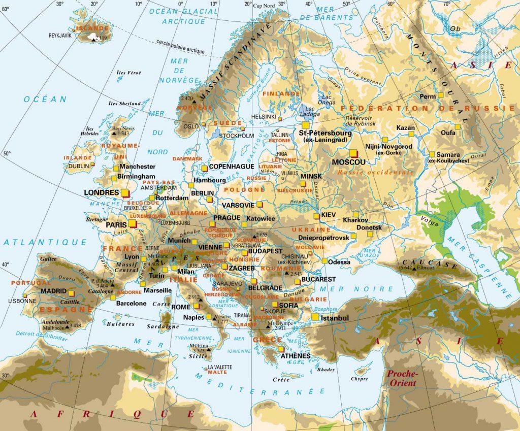 Carte Europe grandes villes