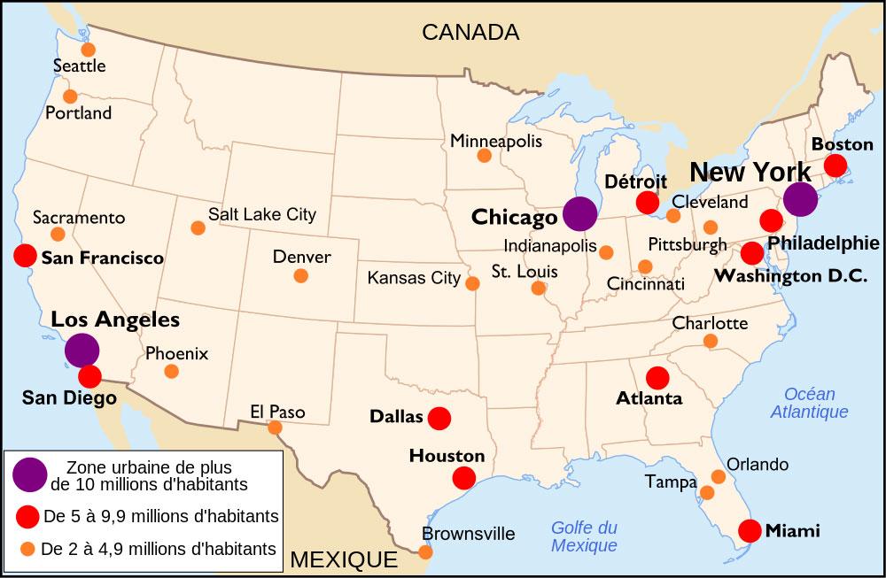 Carte des villes américaines