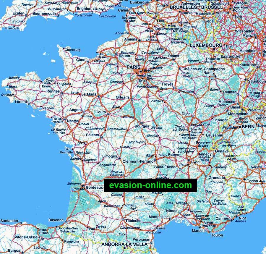 France - Carte des routes - départementales- autoroutes
