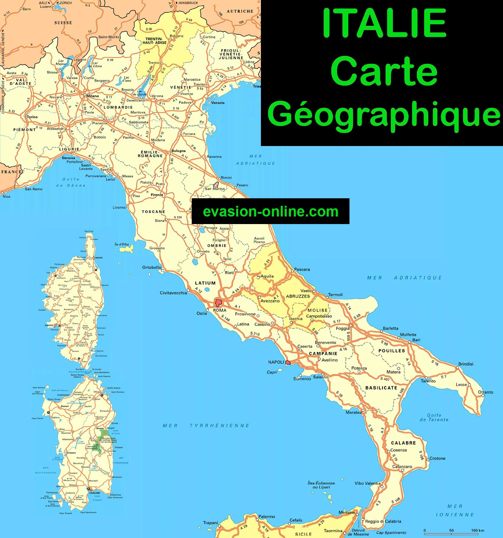 carte italie plan geographique