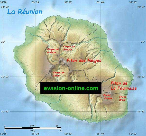 La Réunion - Département - relief et topographie