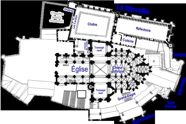 Plan de l'abbaye du Mont-Saint-Michel