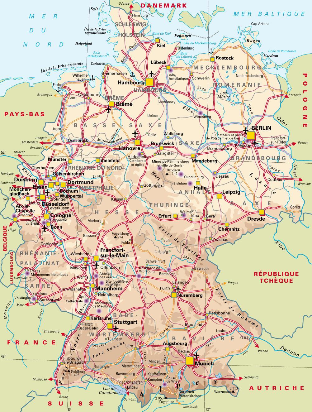 Carte générale - Allemagne