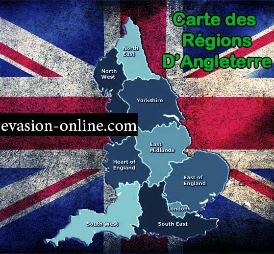 Carte des régions en Angleterre