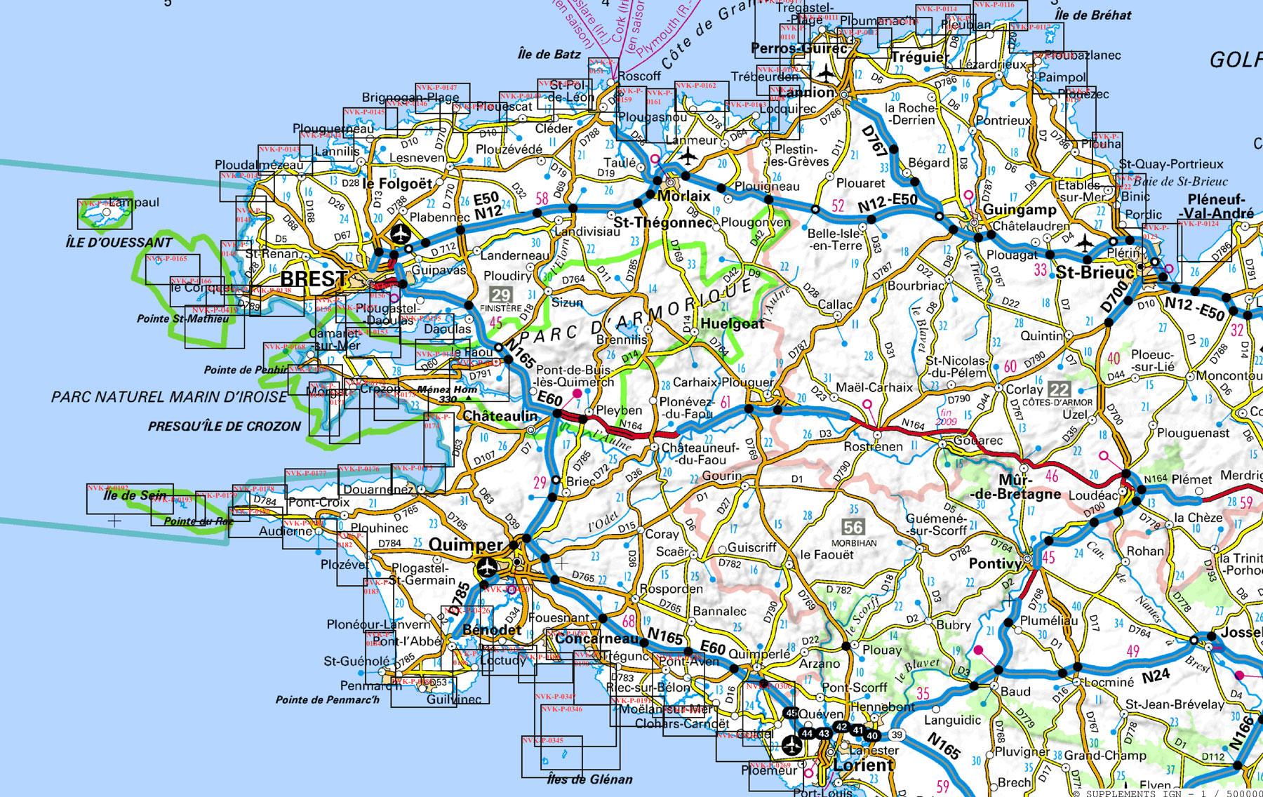 Carte des routes nationales en Bretagne