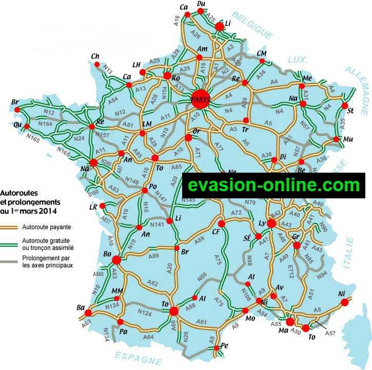 Plan des autoroutes en France