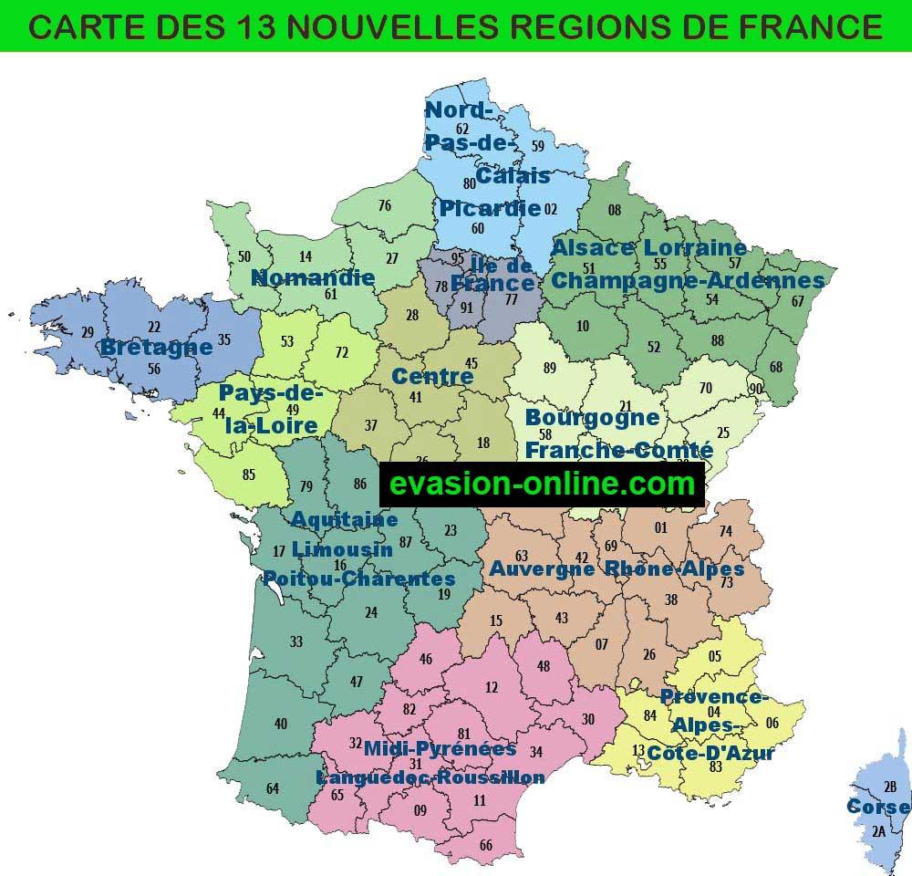 carte de France : les 13 nouvelles régions