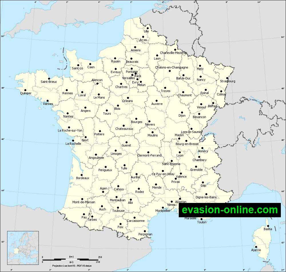 Carte de France détaillée touristique
