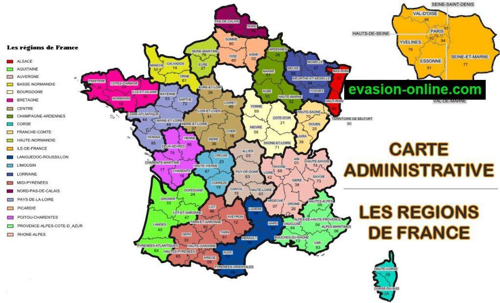 Carte administrative de France avec régions