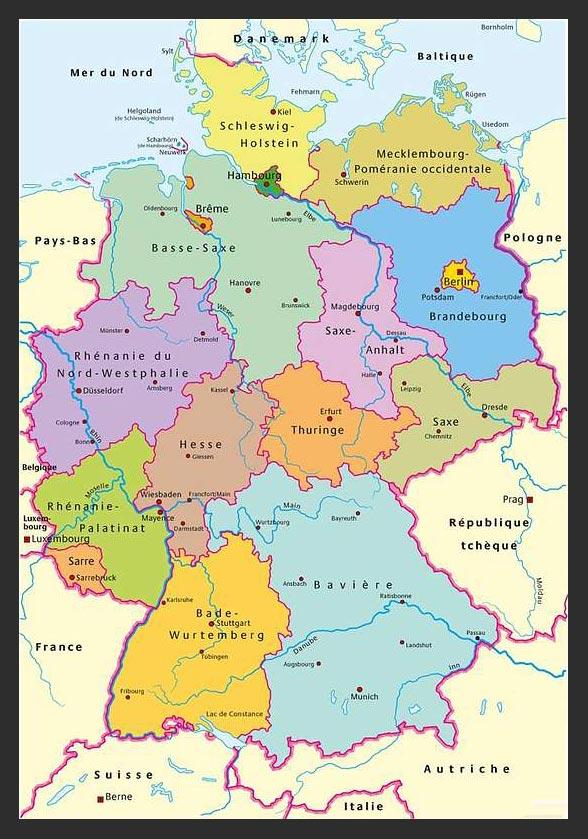 Carte des régions en Allemagne