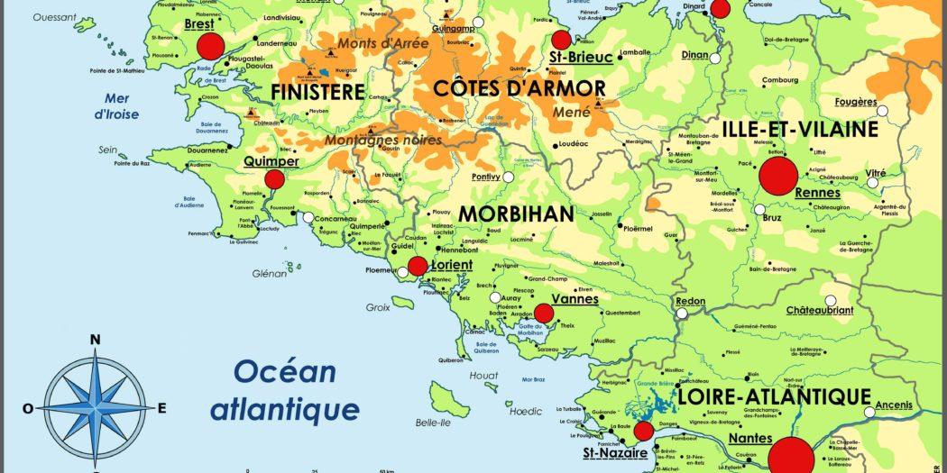 Carte Bretagne Lieux Touristiques.Carte De Bretagne Vacances Arts Guides Voyages
