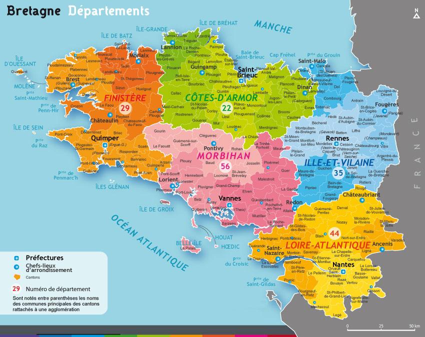 Carte - Bretagne départements et noms des villes