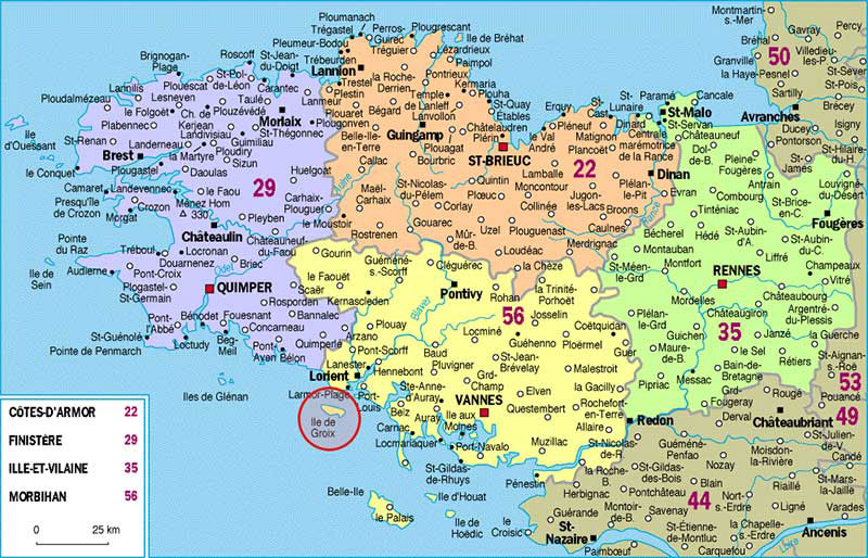 Régions de Bretagne - Carte complète