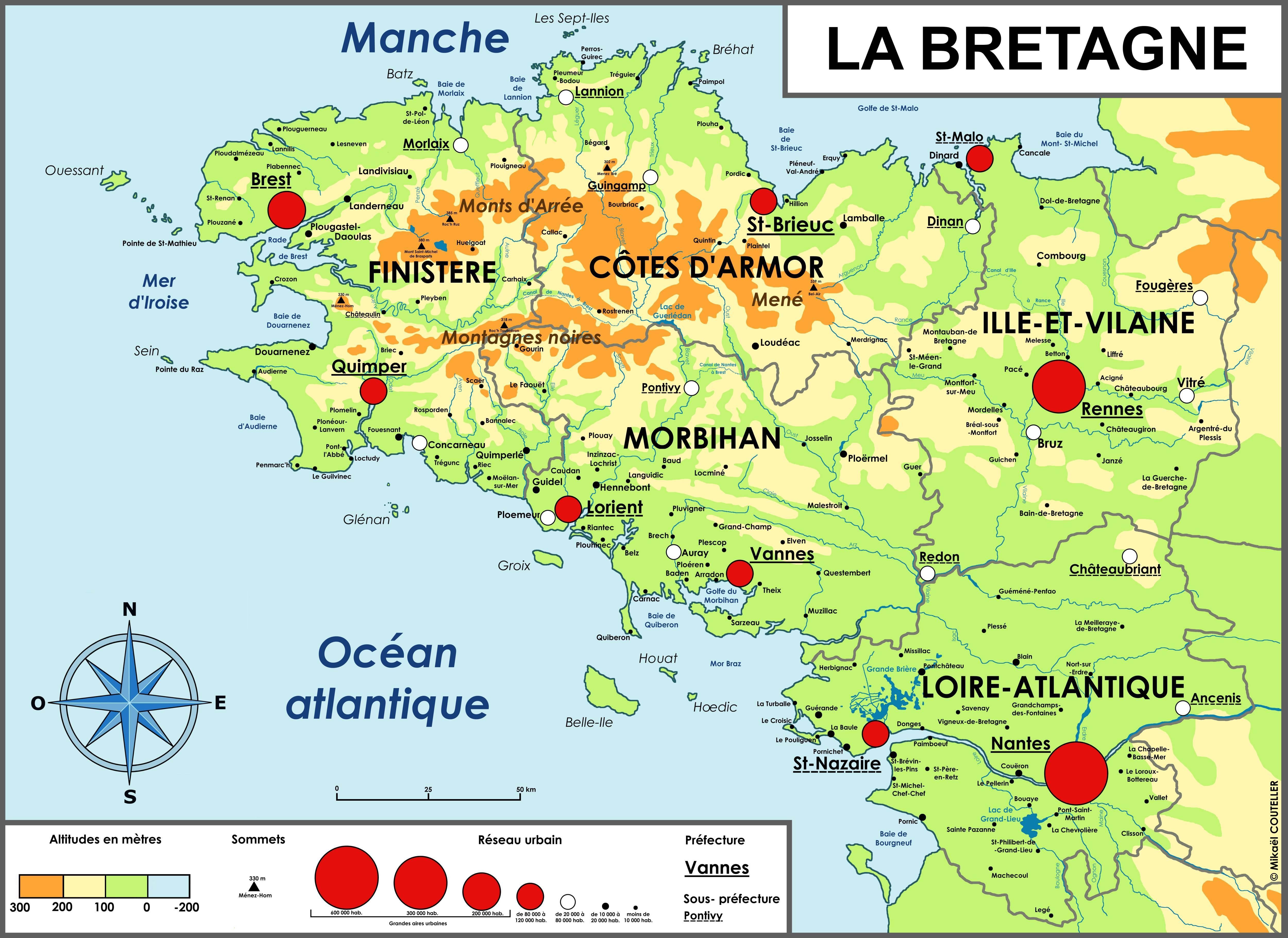 carte de la bretagne avec toutes les villes