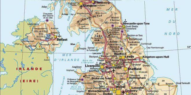 Carte d'Angleterre