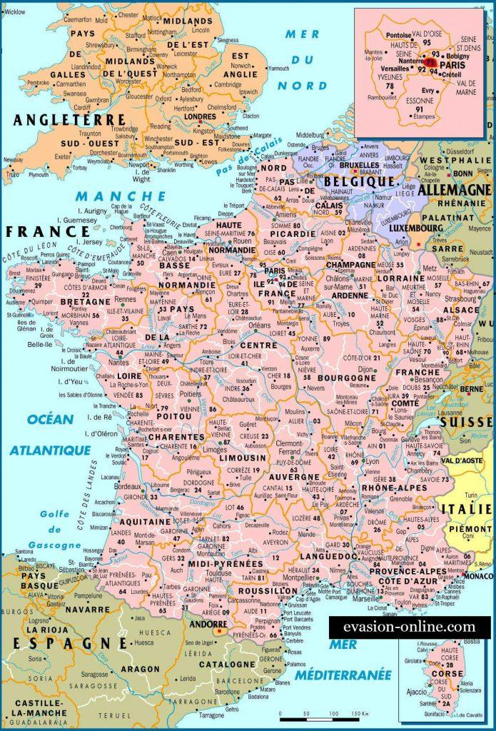 Carte de France avec Pays d'europe