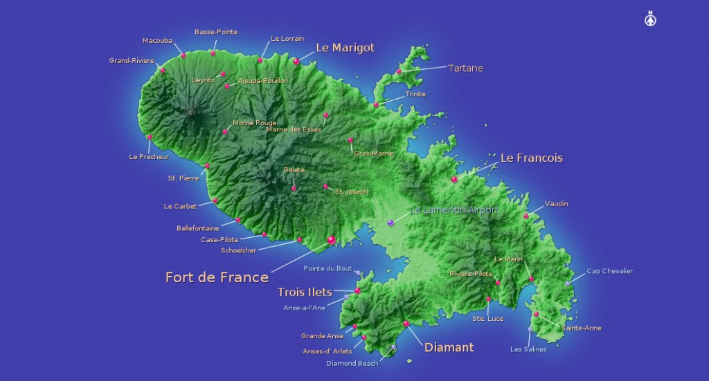 Carte et relief de la martinique