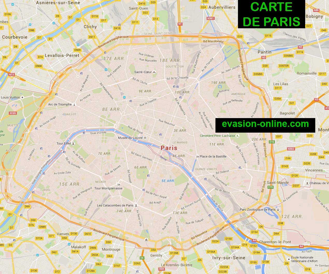 Carte de paris vacances arts guides voyages for Carte paris touristique