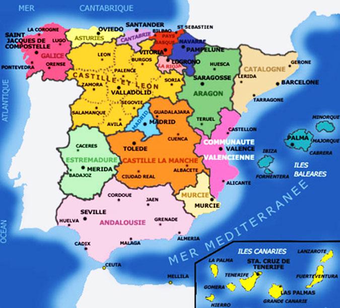 carte espagne - villes-principales