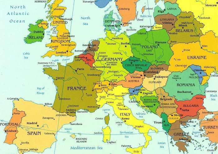 carte géographique europe détaillée
