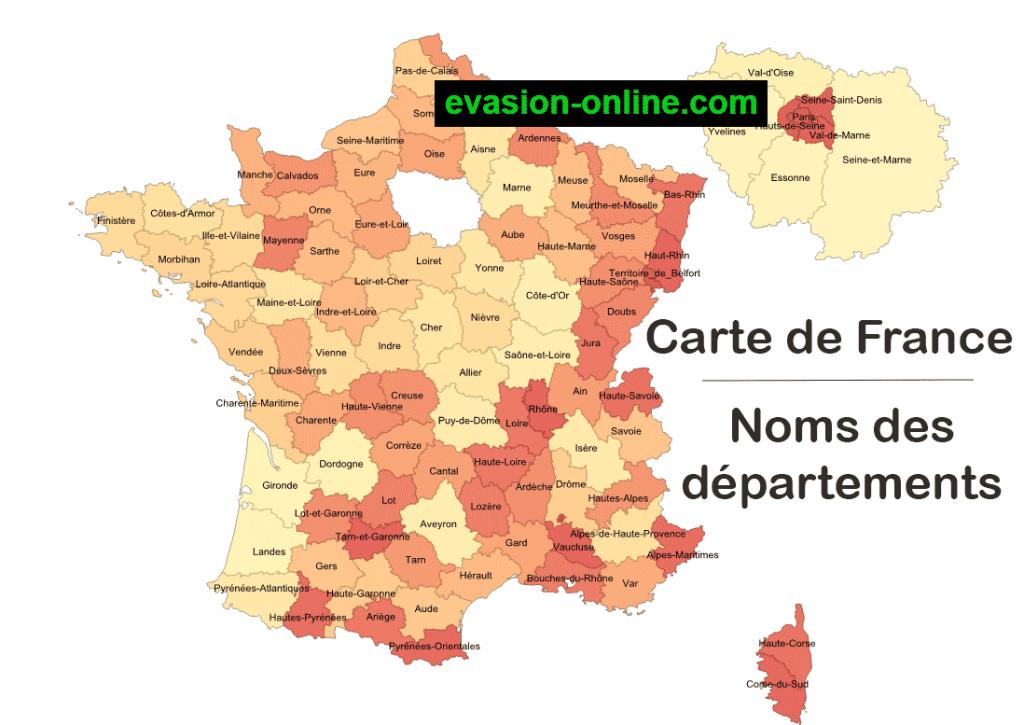 Carte de France métropolitaine avec département
