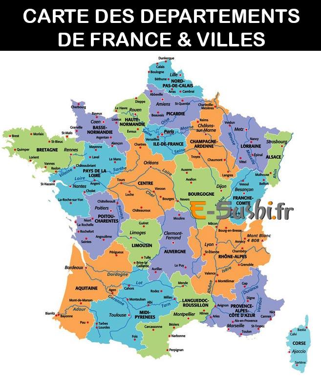 France - Carte des départements et villes