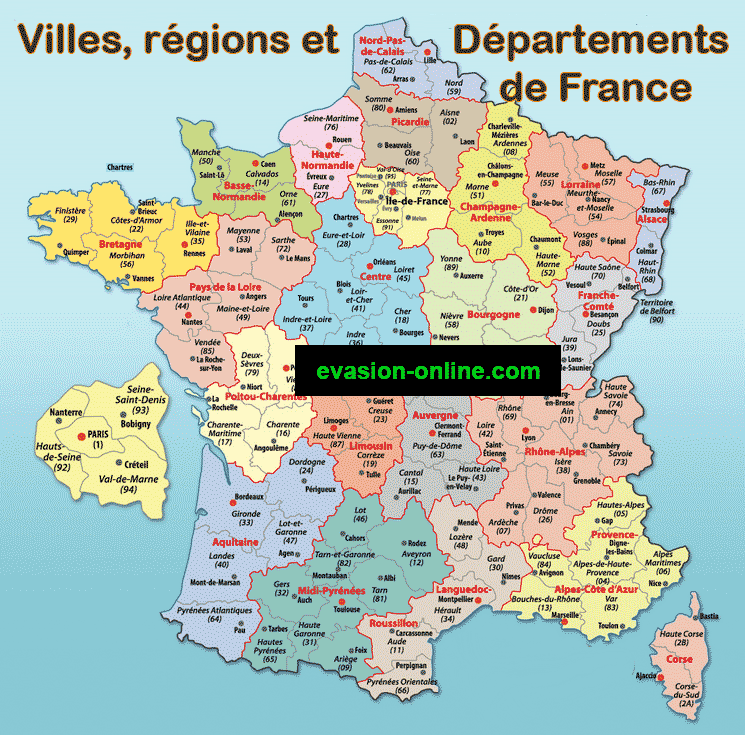 Carte France :  régions, départements et villes