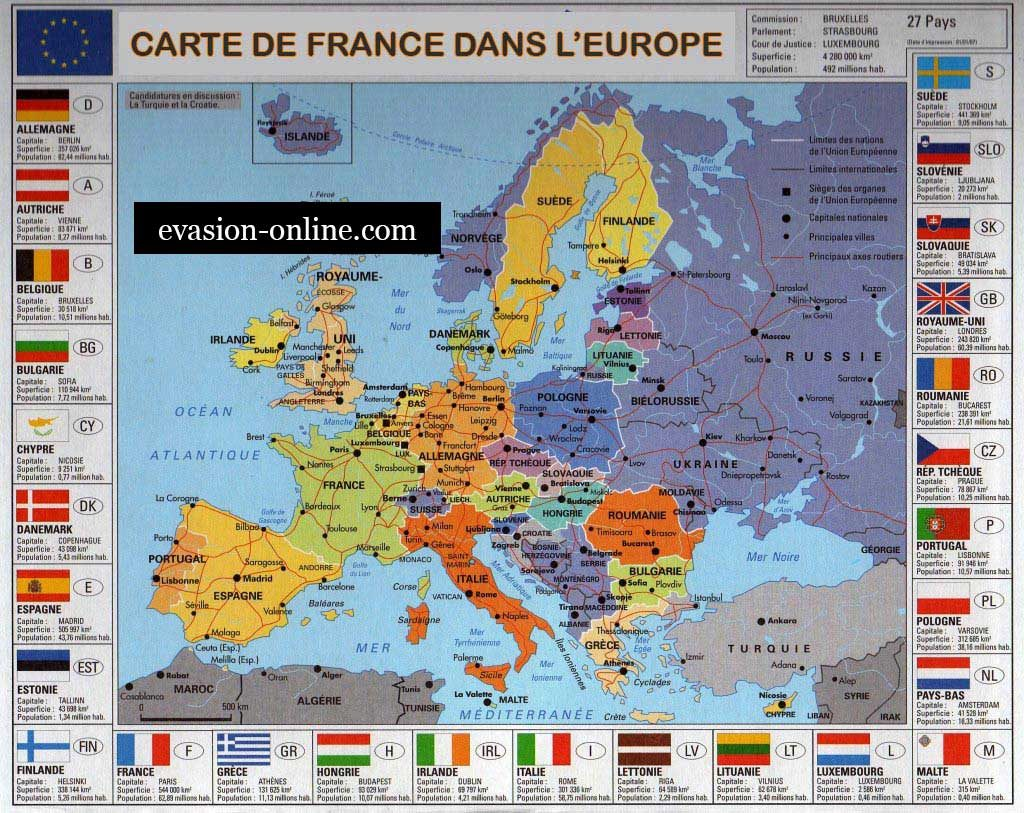 Carte d'Europe - Géographie de la France