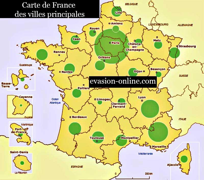 Carte France - Villes principales