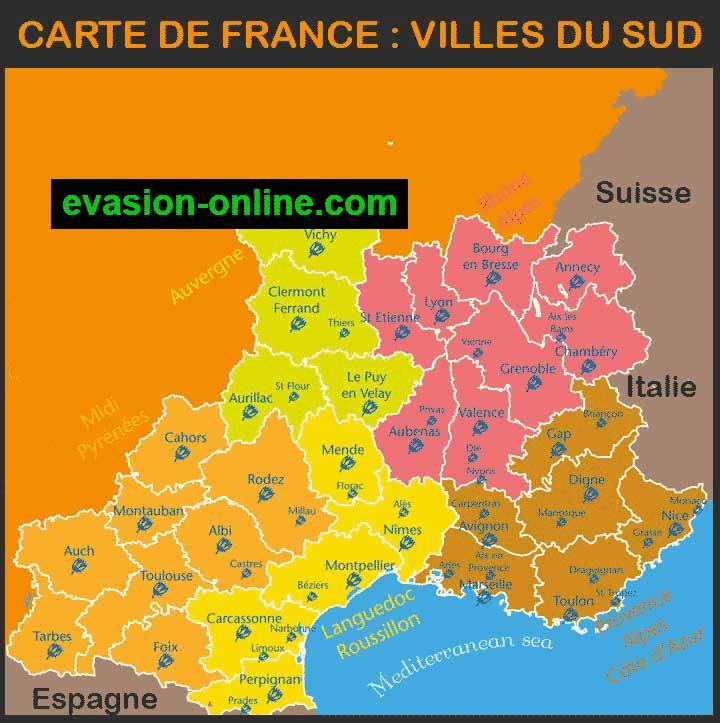 Carte France - Villes du Sud